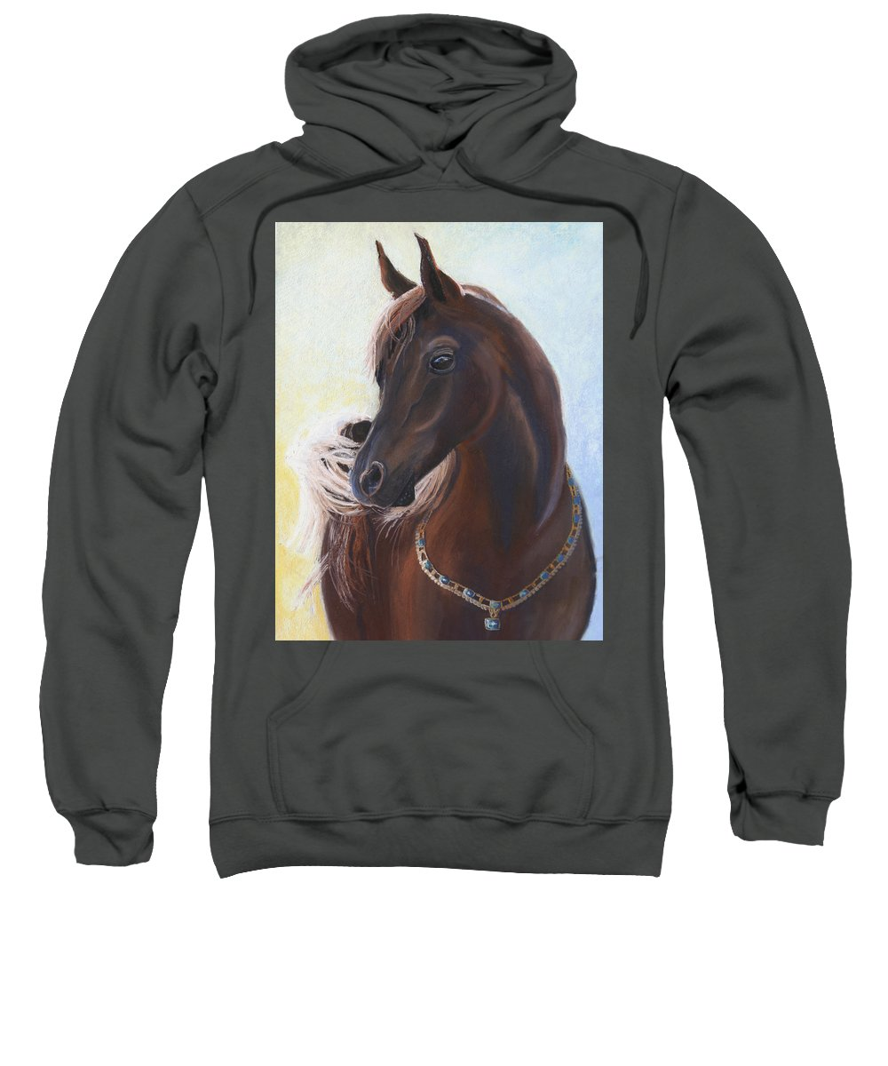 Horse Sweatshirt featuring the painting Arabian Prince by Heather Coen