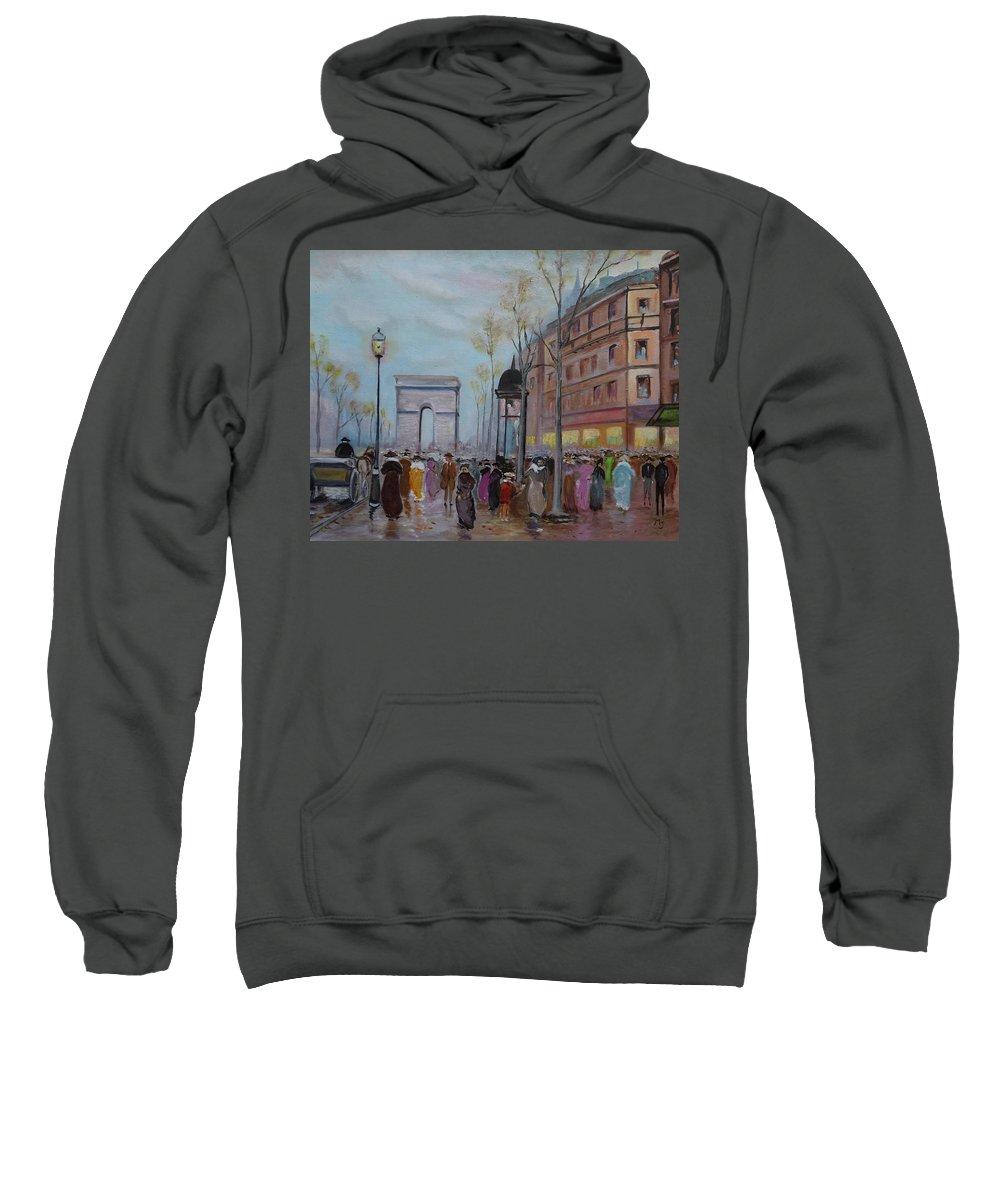 Paris Sweatshirt featuring the painting Arc De Triompfe - Lmj by Ruth Kamenev