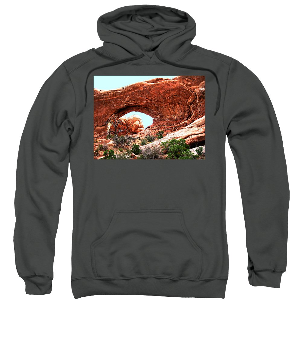 Moab Sweatshirt featuring the digital art Arch Face by Gary Baird