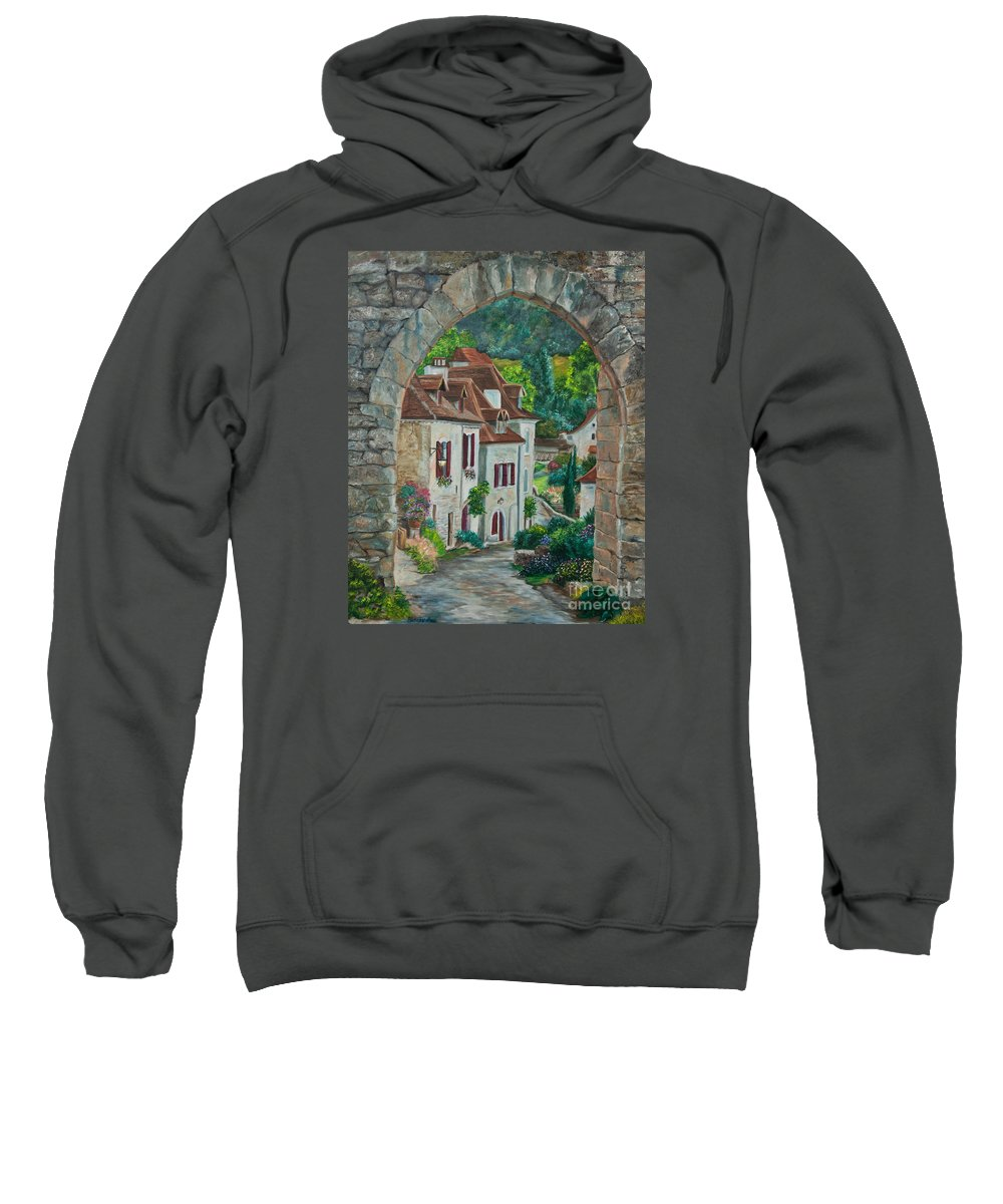 St. Cirq In Lapopie France Sweatshirt featuring the painting Arch Of Saint-cirq-lapopie by Charlotte Blanchard