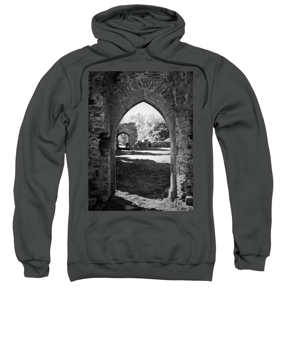 Irish Sweatshirt featuring the photograph Arched Door At Ballybeg Priory In Buttevant Ireland by Teresa Mucha