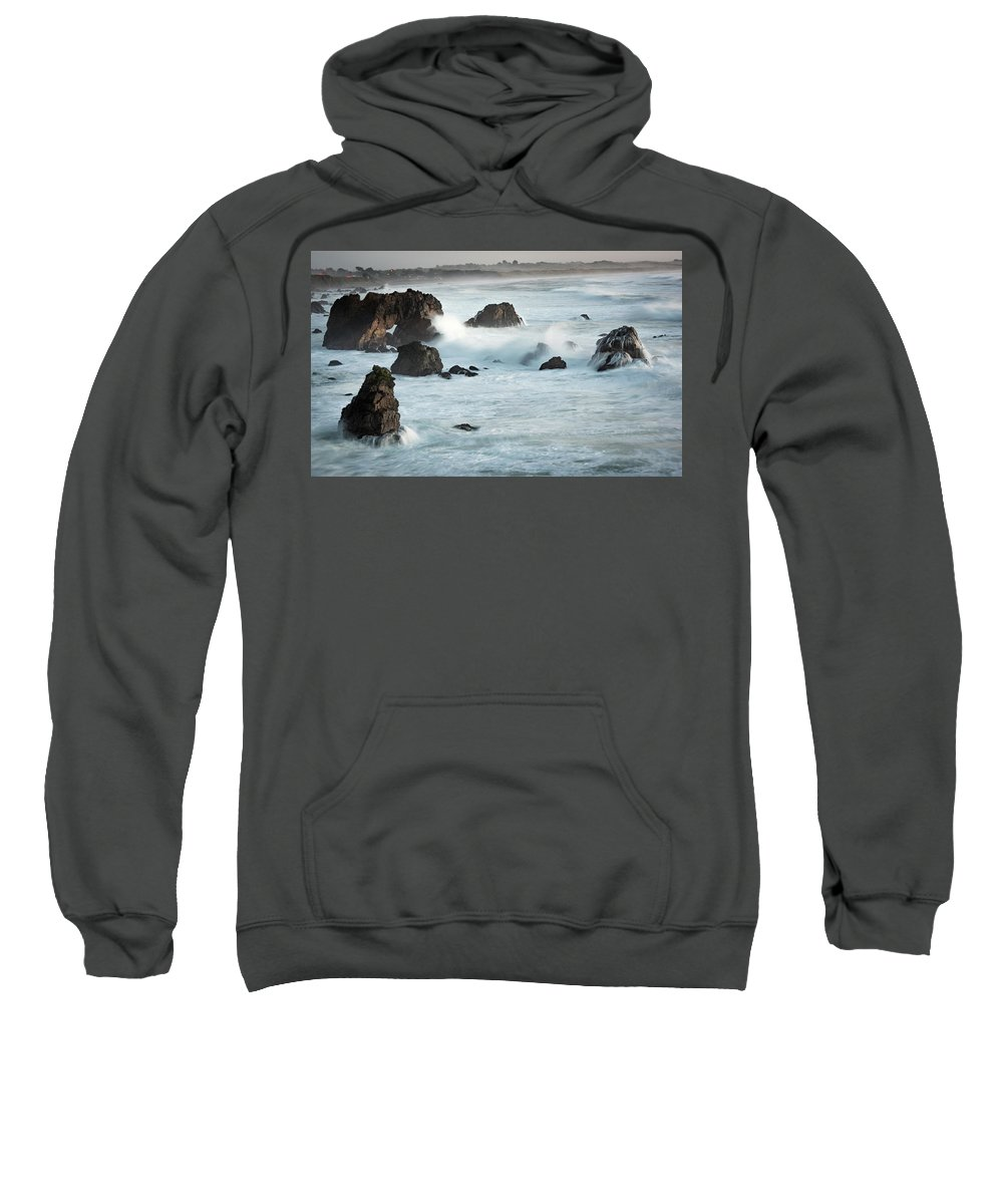 Arched Rock Sweatshirt featuring the photograph Arched Rock Wave Break by Travis Elder