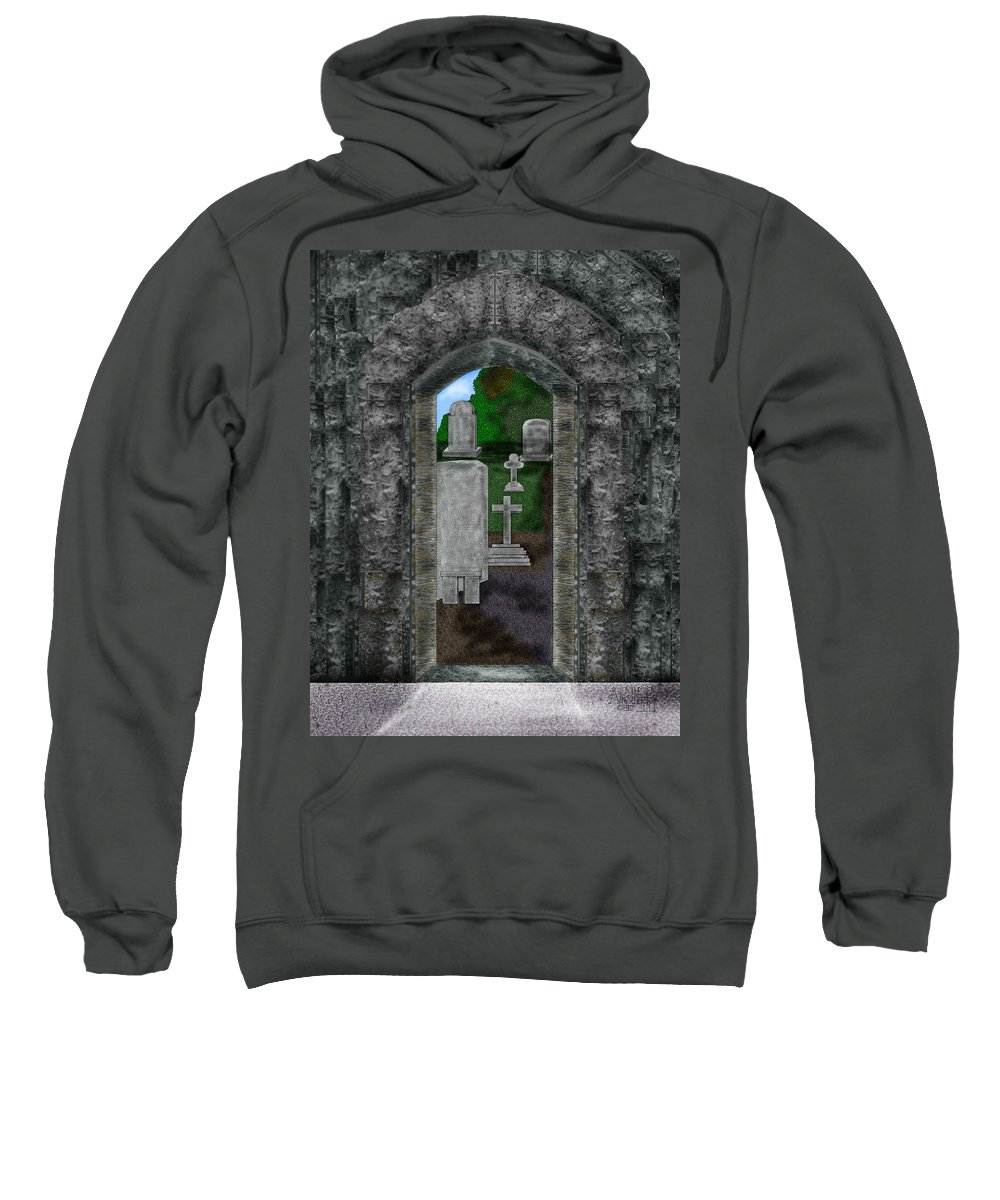 Digital Landscape Sweatshirt featuring the painting Arches and Cross in Ireland by Anne Norskog