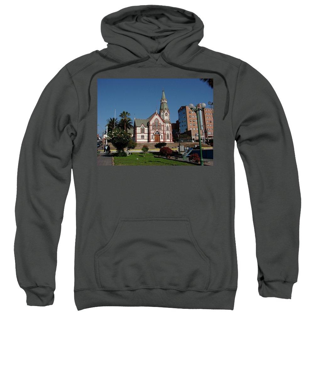 Arica Sweatshirt featuring the photograph Arica Chile Church by Brett Winn