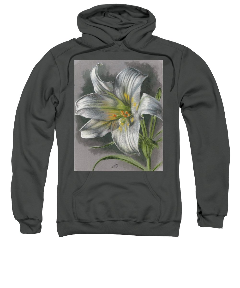 Easter Lily Sweatshirt featuring the mixed media Arise by Barbara Keith