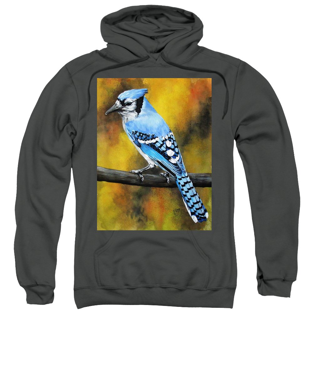 Common Bird Sweatshirt featuring the painting Aristocrat by Barbara Keith