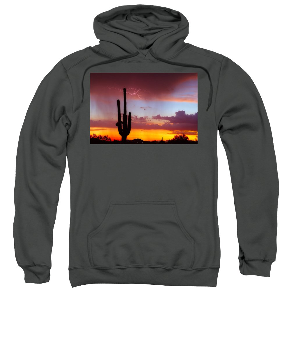 Arizona Sweatshirt featuring the photograph Arizona Lightning Sunset by James BO Insogna