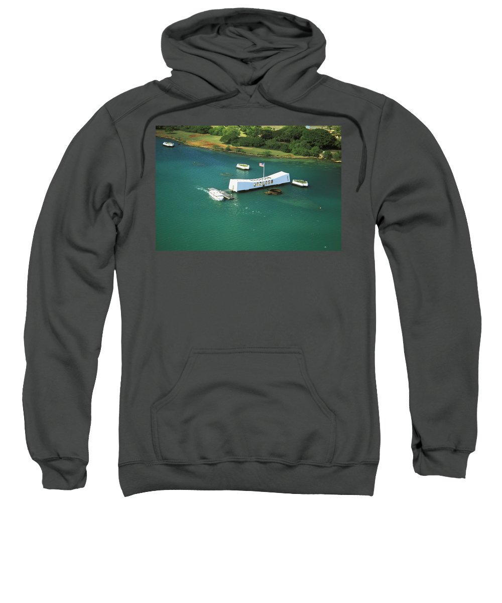 Above Sweatshirt featuring the photograph Arizona Memorial From Above by Peter French - Printscapes