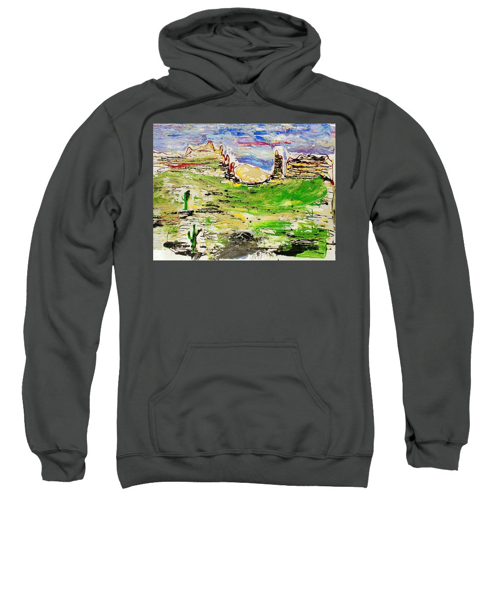 Cactus Sweatshirt featuring the painting Arizona Skies by J R Seymour