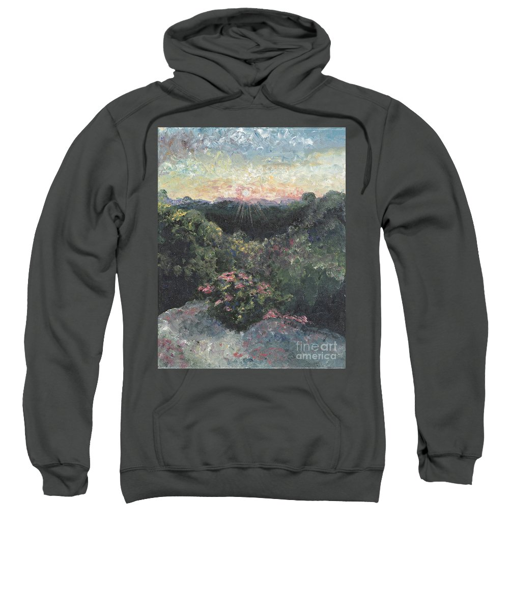 Landscape Sweatshirt featuring the painting Arkansas Mountain Sunset by Nadine Rippelmeyer
