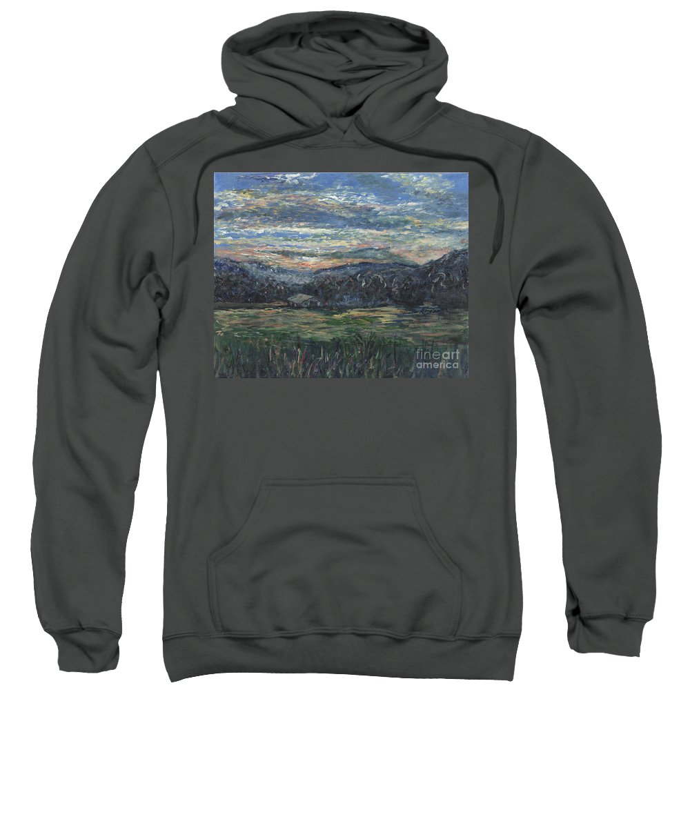 Impressionism Sweatshirt featuring the painting Arkansas Sunrise by Nadine Rippelmeyer