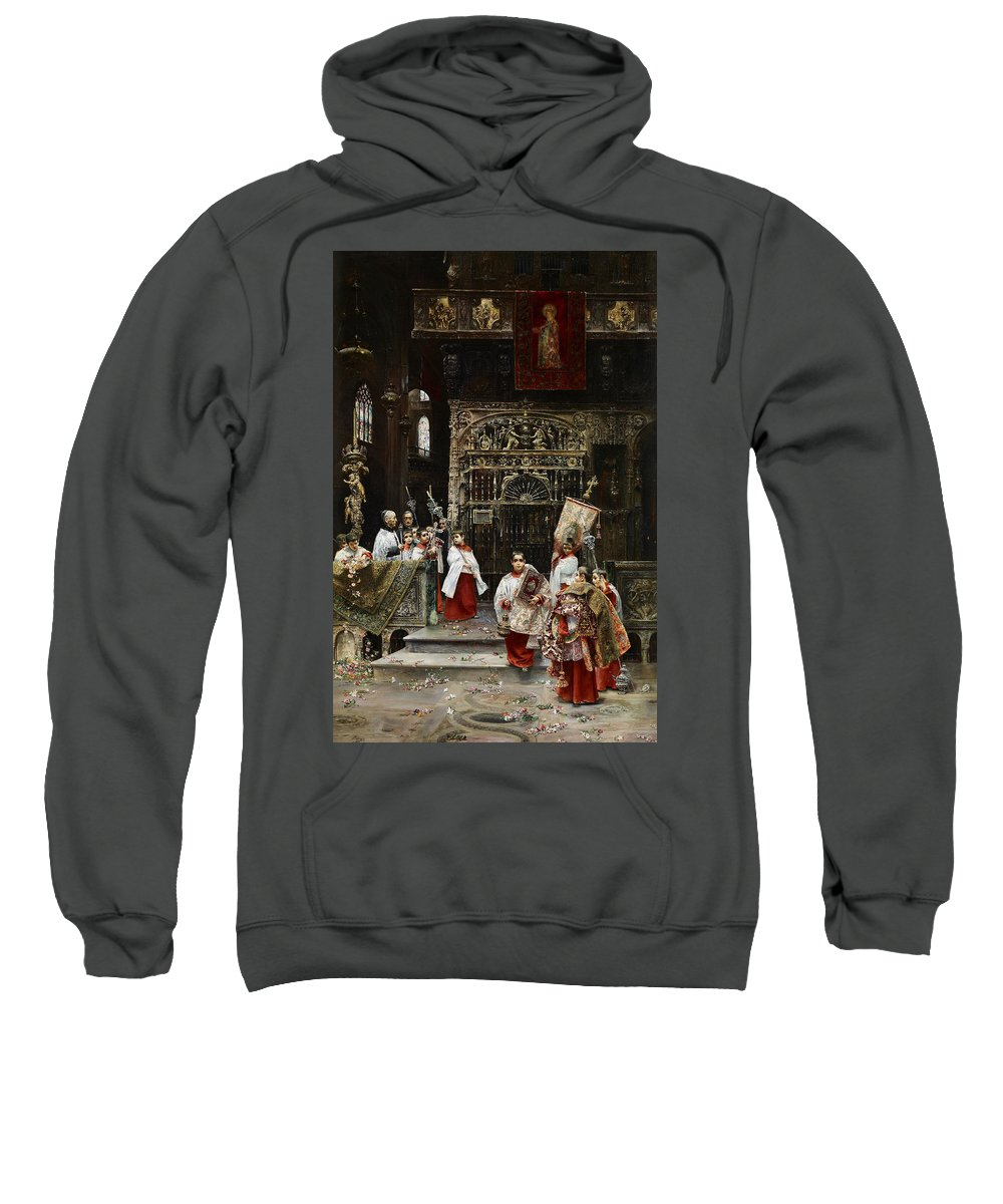 Jos� Gallegos Y Arnosa Choirboys Sweatshirt featuring the painting Arnosa Choirboys by MotionAge Designs