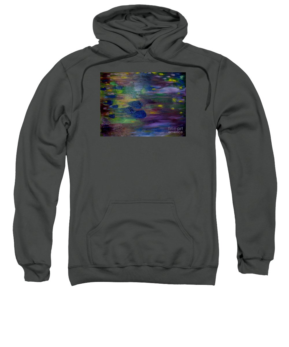 Abstract Sweatshirt featuring the painting Around The Worlds by Laurie Morgan