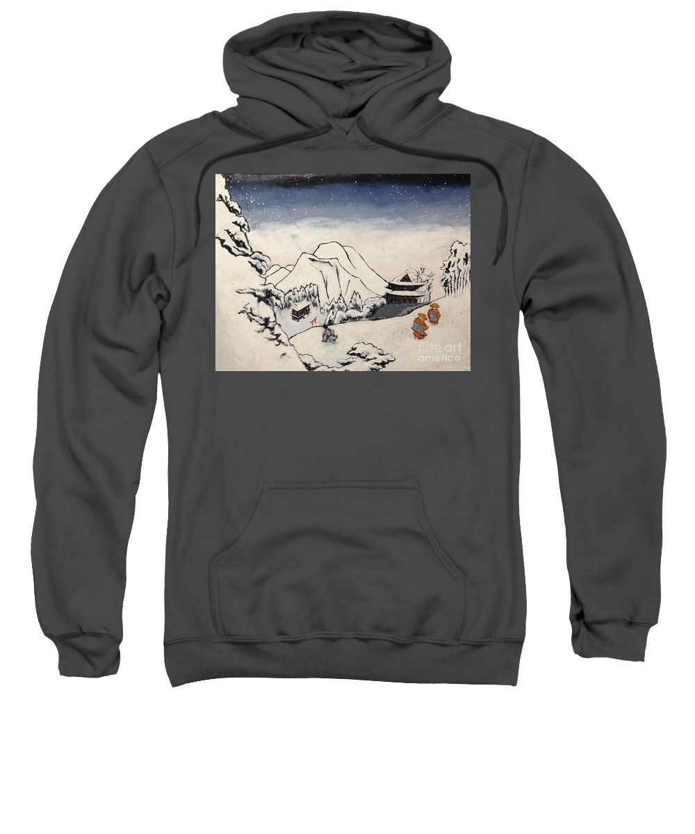 Japanese Artist Sweatshirt featuring the painting Art Of Buddhism And Shintoism And Two Paths In The Snow by Sawako Utsumi
