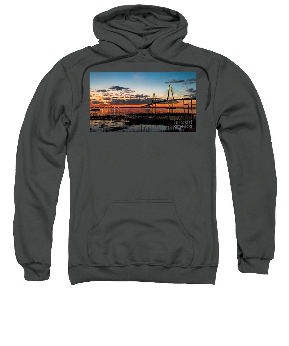 Arthur Ravenel Sky Bridge Sweatshirt featuring the photograph Arthur Ravenel Bridge Twilight by Robert Loe