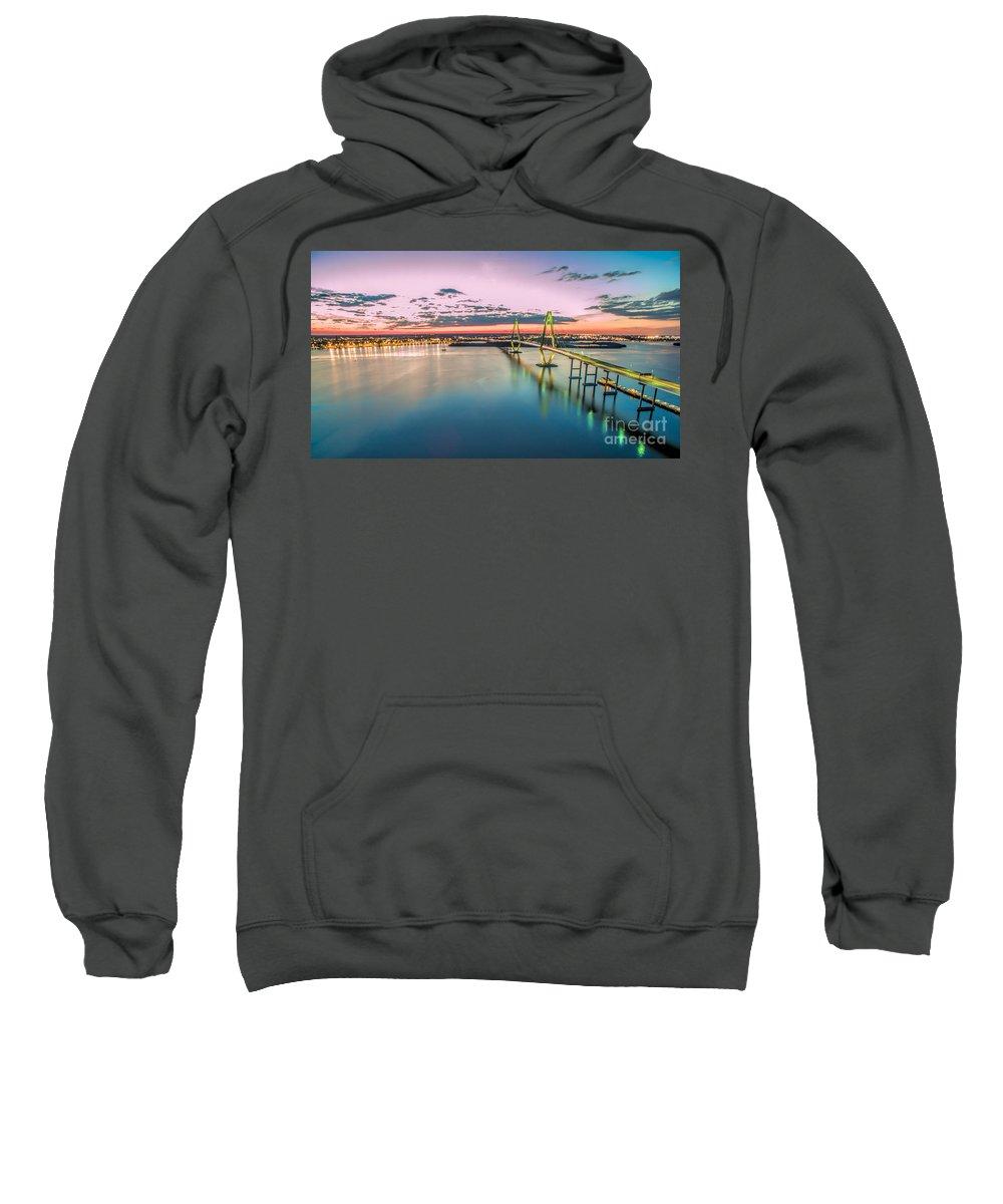 Arthur Ravenel Sky Bridge Sweatshirt featuring the photograph Arthur Ravenel Jr. Bridge Light Trails by Robert Loe