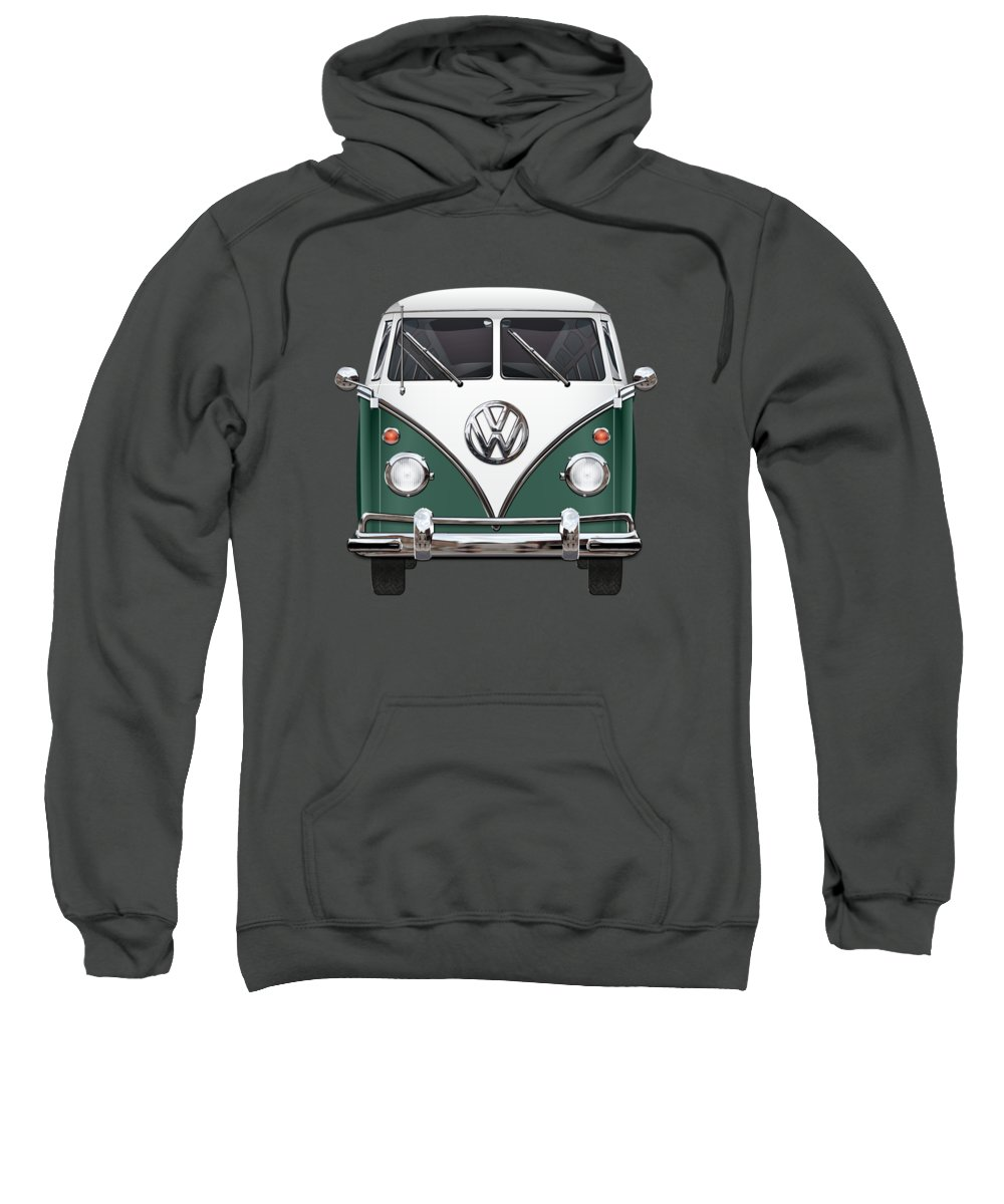 'volkswagen Type 2' Collection By Serge Averbukh Sweatshirt featuring the photograph Volkswagen Type 2 - Green And White Volkswagen T 1 Samba Bus Over Red Canvas by Serge Averbukh