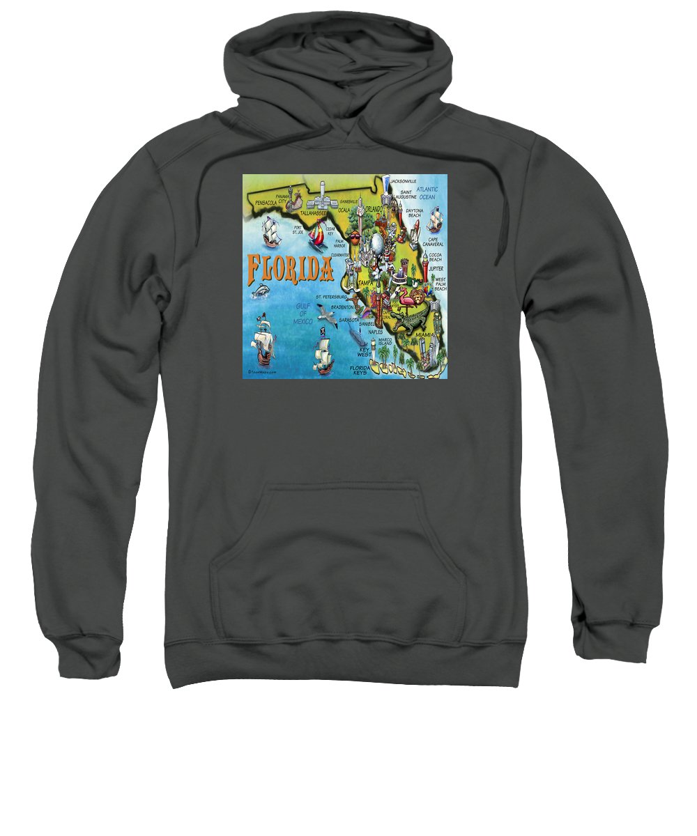 Florida Sweatshirt featuring the digital art Florida Cartoon Map by Kevin Middleton