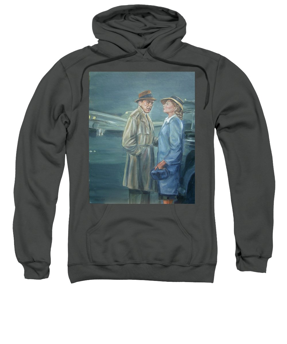 Casablanca Sweatshirt featuring the painting As Time Goes By by Bryan Bustard