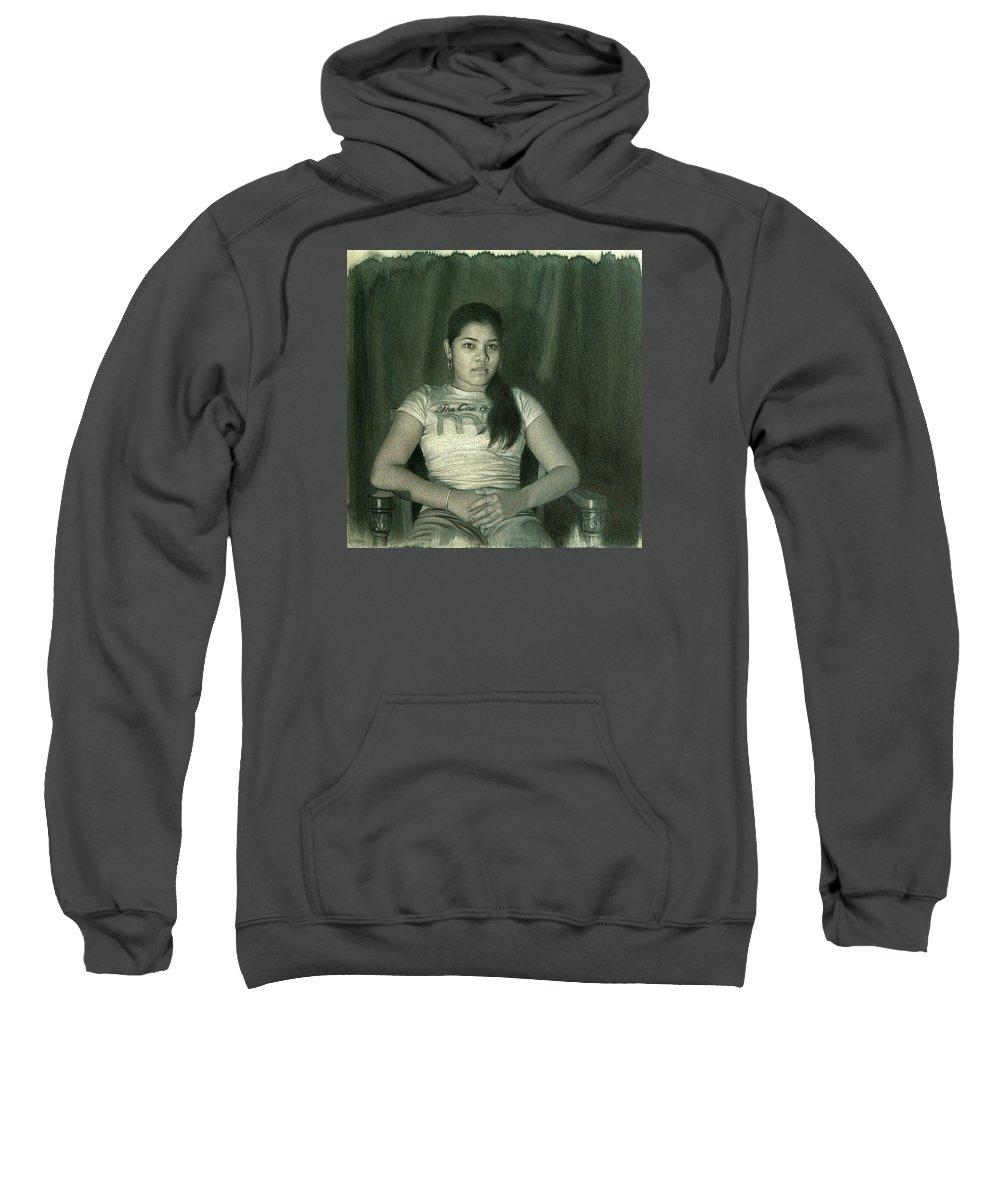 Figure Sweatshirt featuring the drawing Ash by Joe Velez