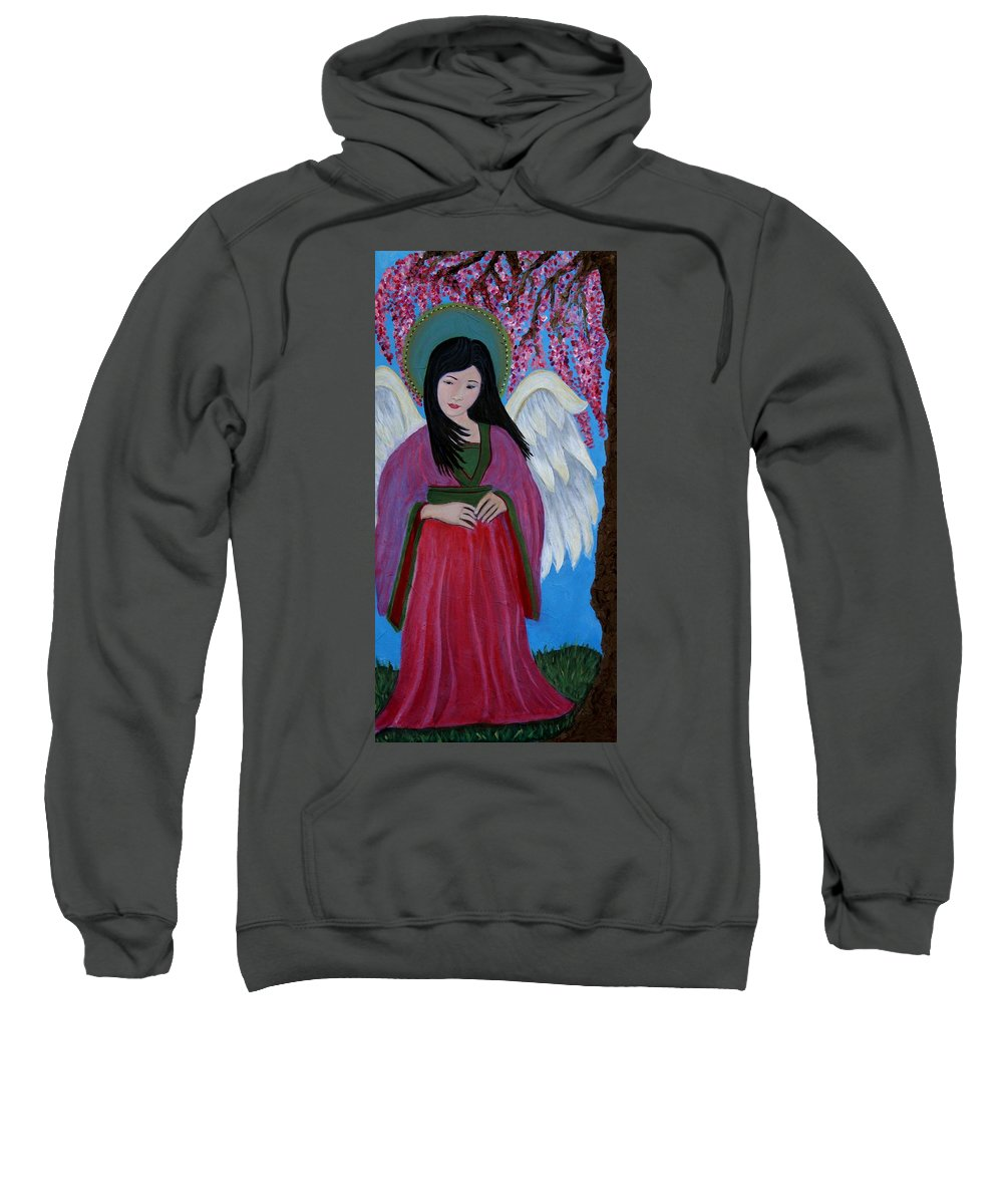 Angel Sweatshirt featuring the painting Asian Earthangel Tuyen by The Art With A Heart By Charlotte Phillips