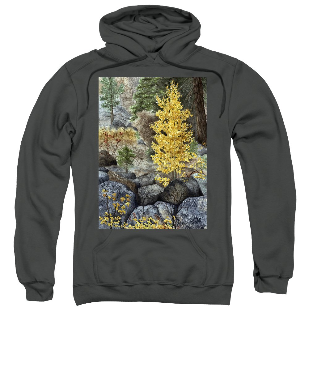 Autumn Sweatshirt featuring the painting Aspen Gold by Mary Tuomi