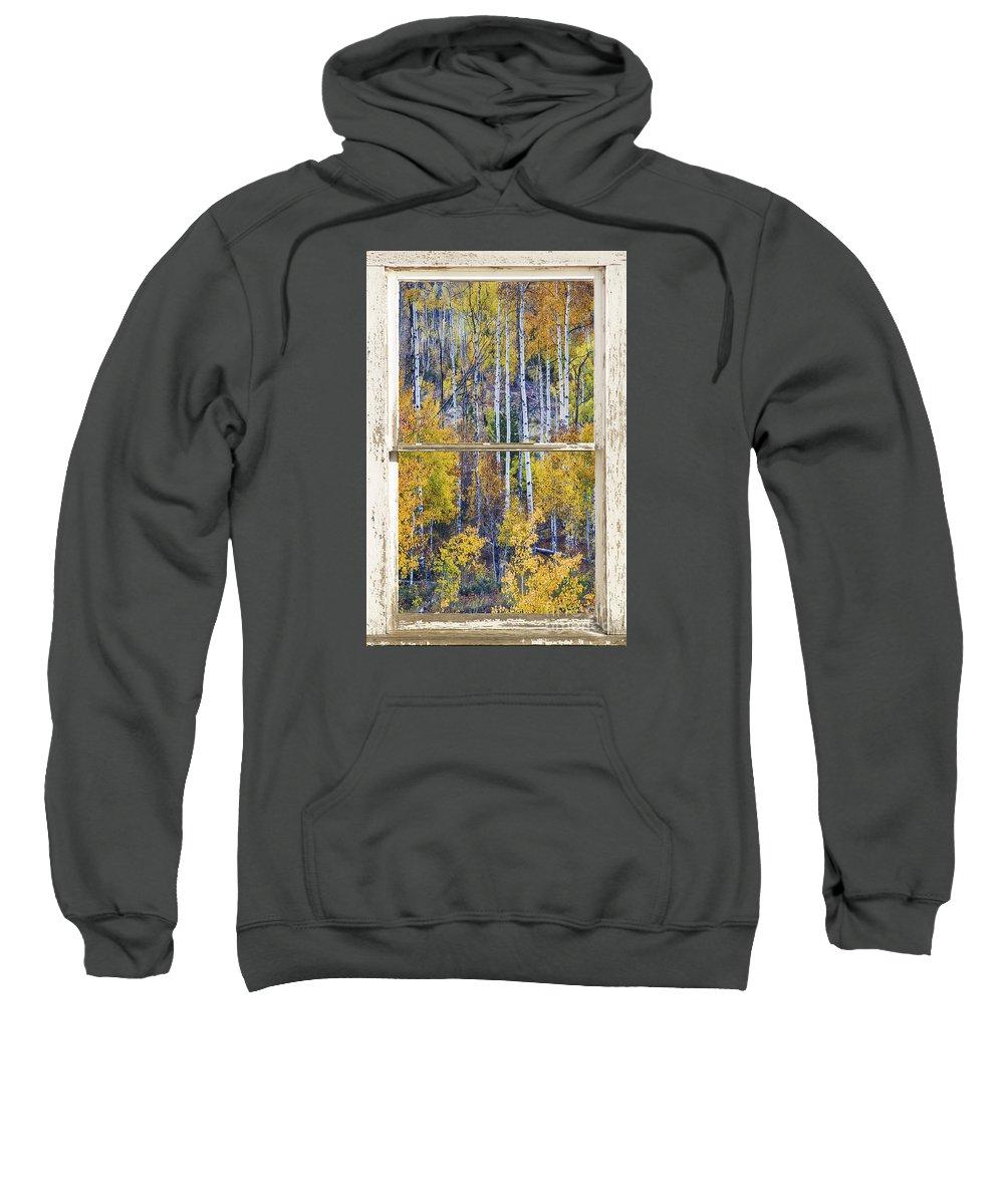 Window Sweatshirt featuring the photograph Aspen Tree Magic Cottonwood Pass White Farm House Window Art by James BO Insogna