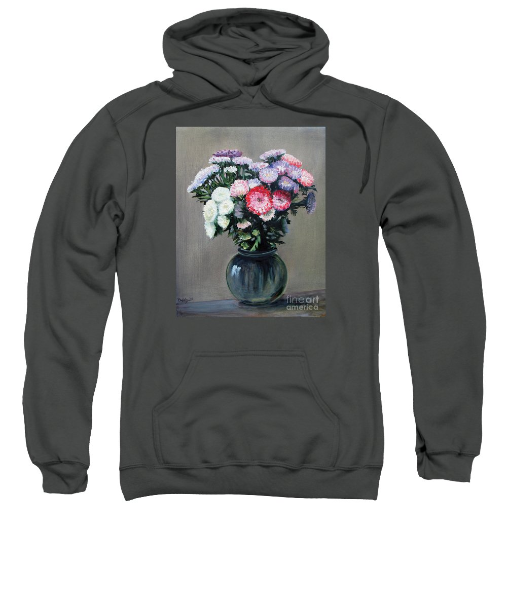 Flowers Sweatshirt featuring the painting Asters by Paul Walsh