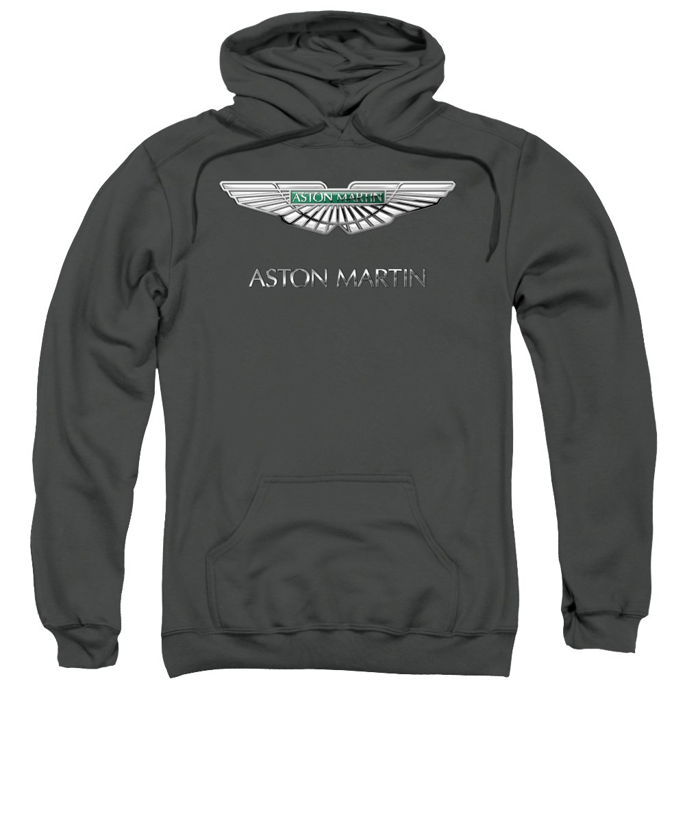 Wheels Of Fortune� Collection By Serge Averbukh Sweatshirt featuring the photograph Aston Martin - 3 D Badge On Red by Serge Averbukh