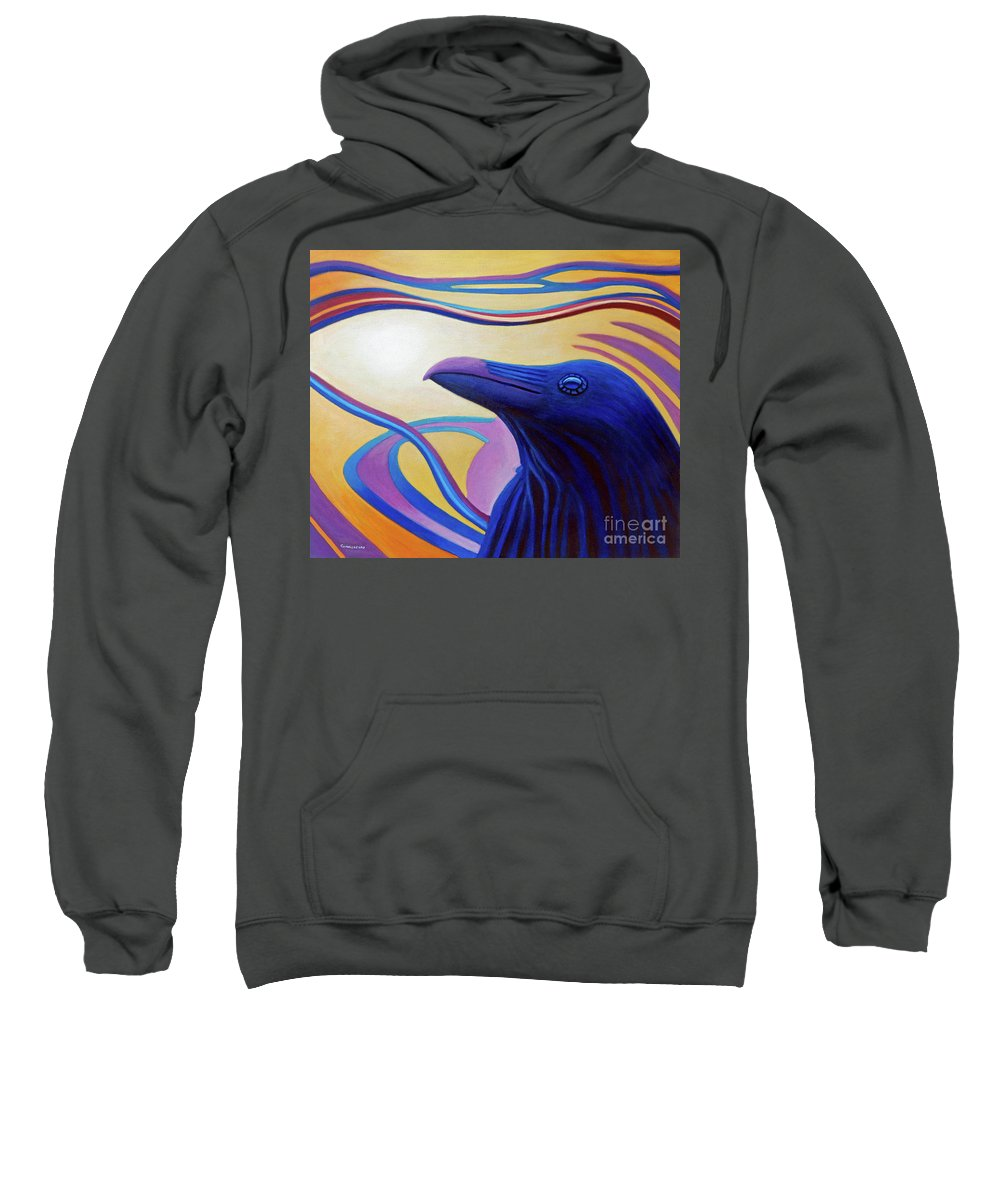 Raven Sweatshirt featuring the painting Astral Raven by Brian Commerford