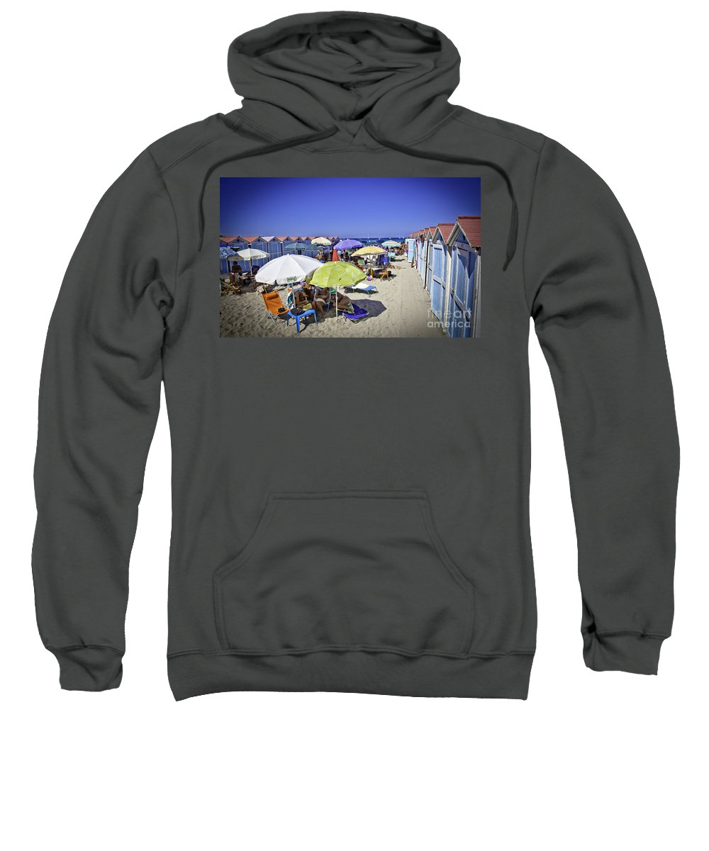Mondello Beach Sweatshirt featuring the photograph At Mondello Beach - Sicily by Madeline Ellis
