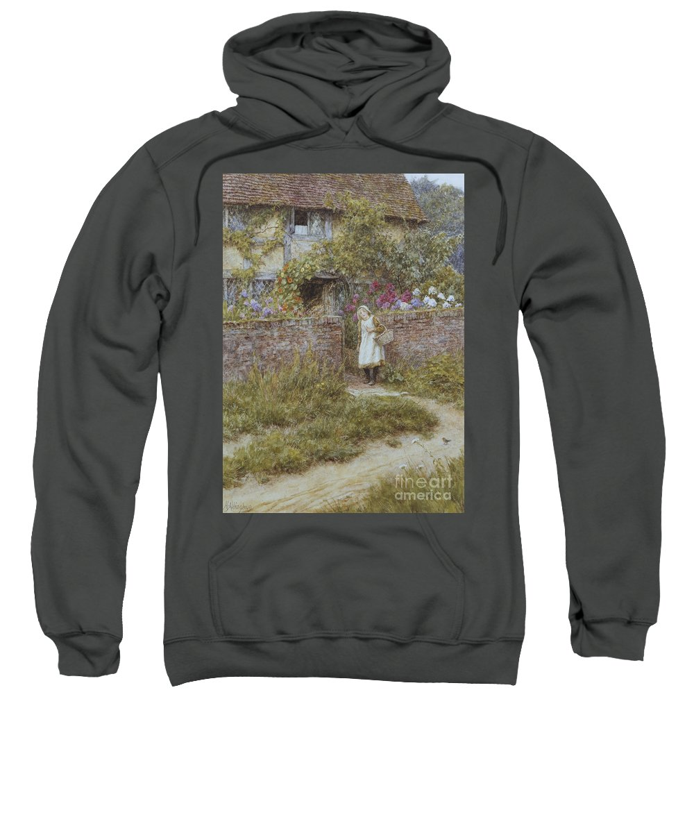 English; Landscape; Rural; Cottage; Gate; Gateway; Girl; Child; Path; C19th; C20th; Victorian Sweatshirt featuring the painting At Sandhills by Helen Allingham