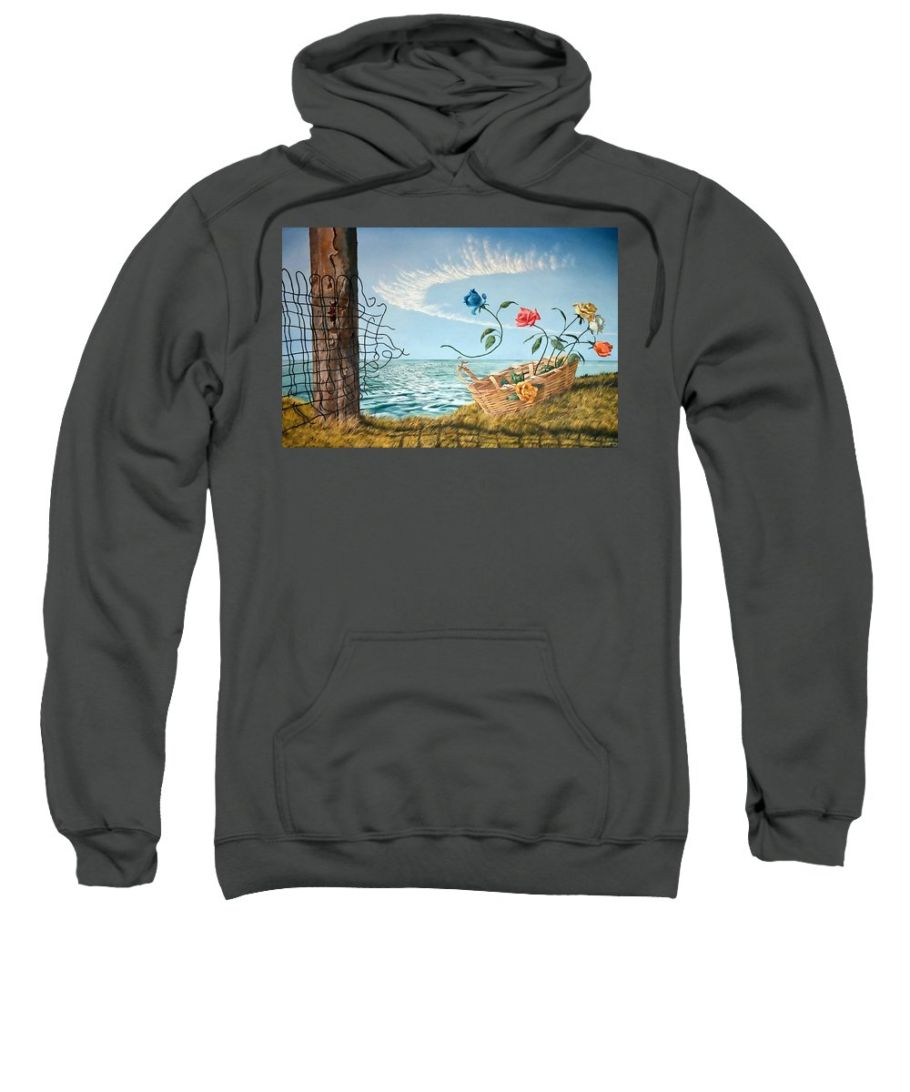 Flower Sweatshirt featuring the painting At The End Of The Fence I Am Free by Christopher Shellhammer