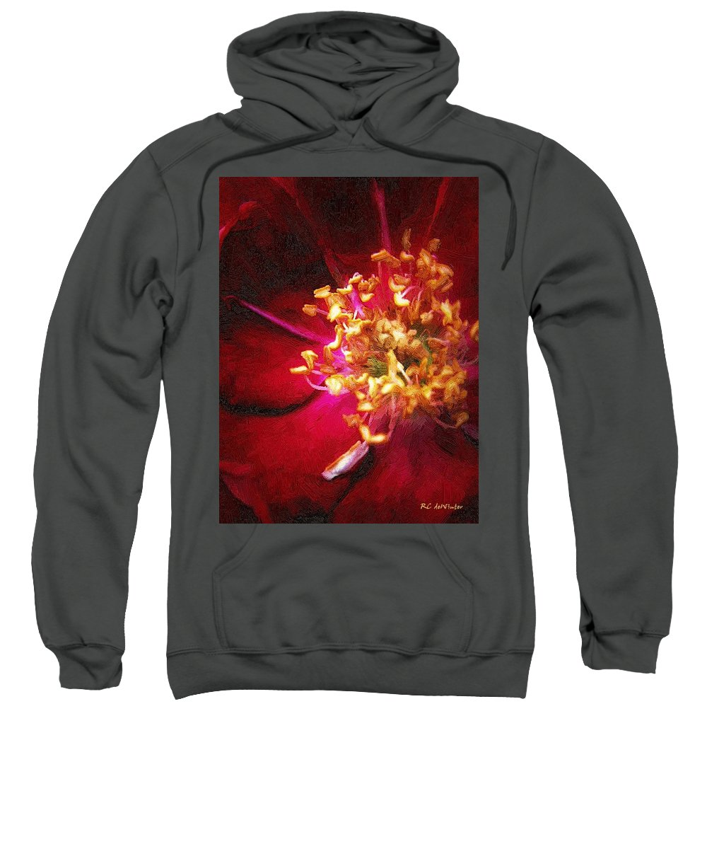Flower Sweatshirt featuring the painting At The Heart Of It All by RC DeWinter