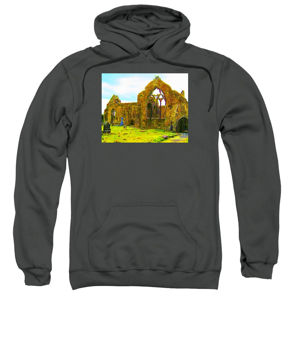 Sweatshirt featuring the digital art Athenry Ruin by Joseph Re