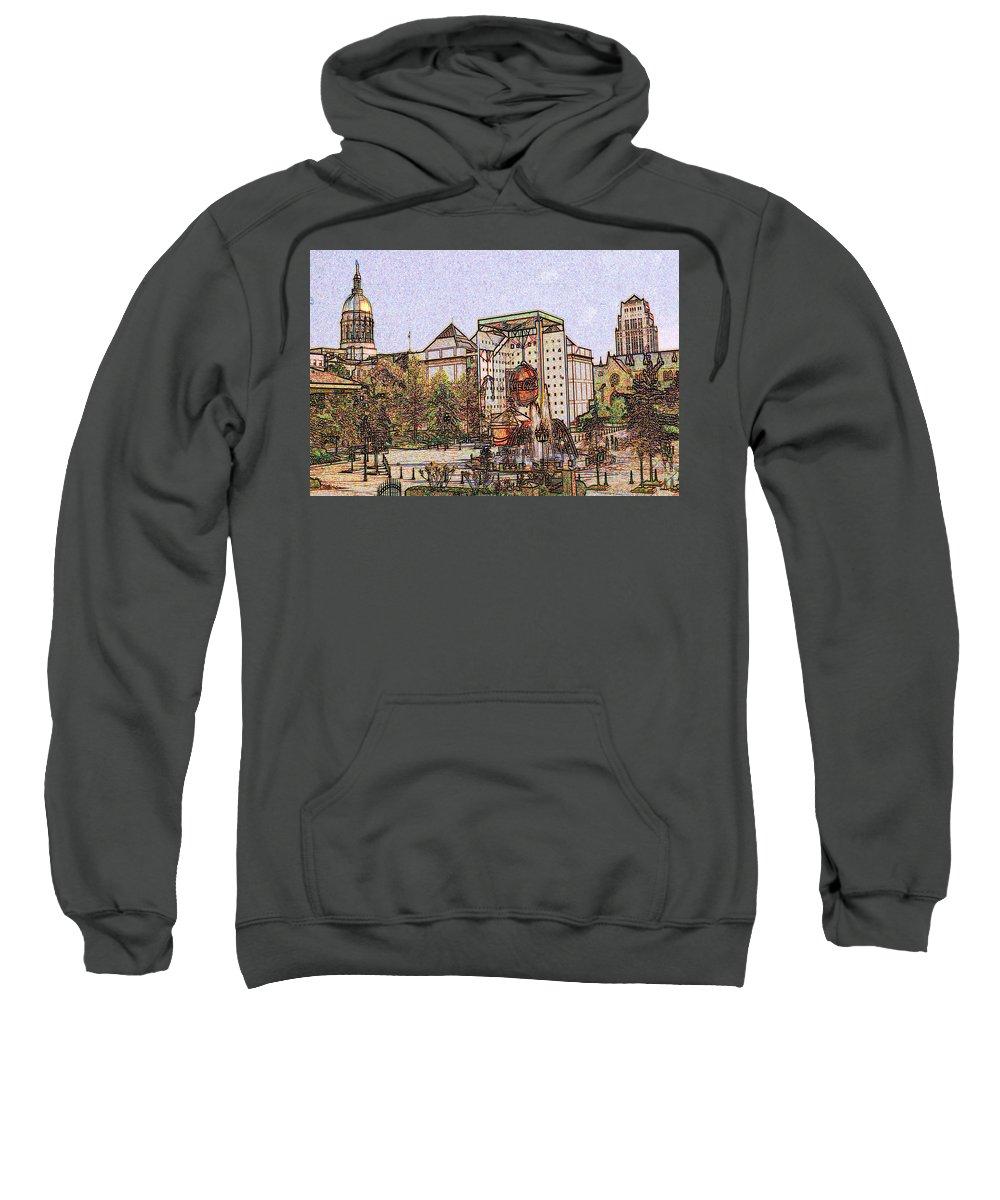 Atlanta Sweatshirt featuring the drawing Atlanta Georgia Usa - Color Pencil by Peter Potter