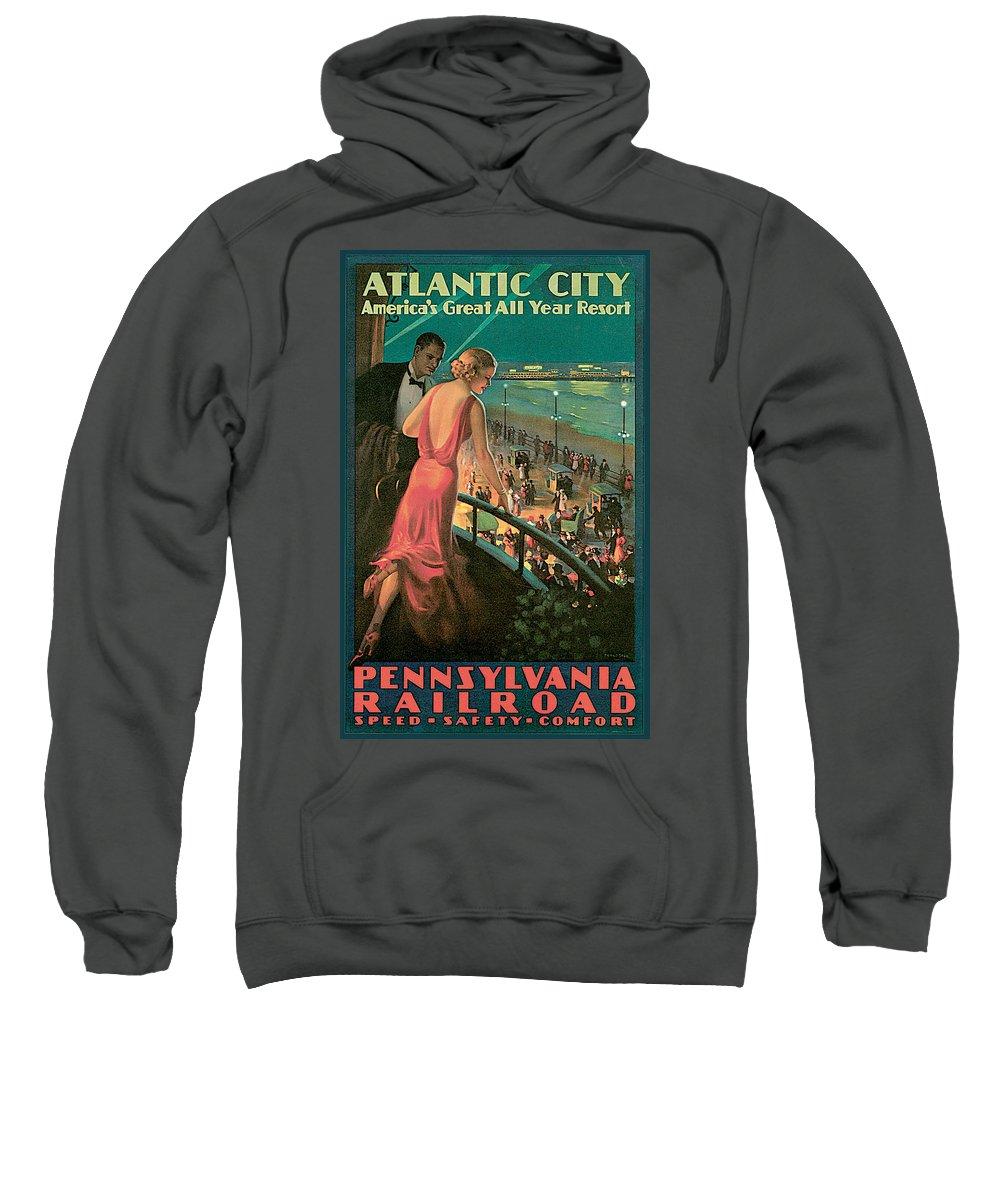 Edward Egglesston Sweatshirt featuring the painting Atlantic City Pennsylvania Railroad by Edward Egglesston
