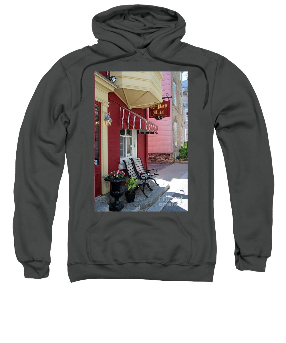 Au Petit Hotel Sweatshirt featuring the photograph Au Petit Hotel Quebec City 6525 by Jack Schultz