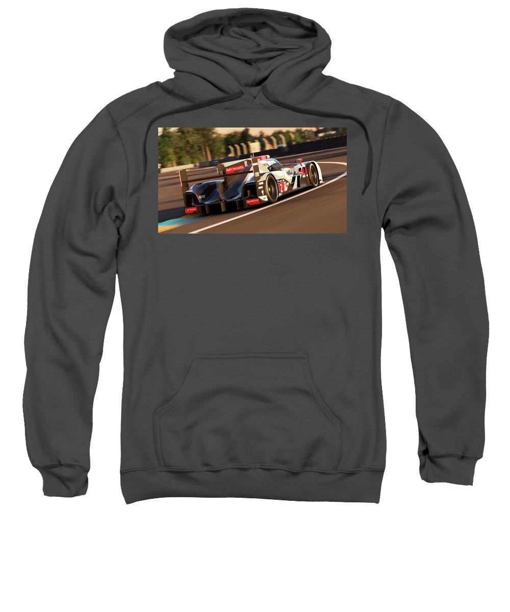 Audi Sweatshirt featuring the photograph Audi R18 E-tron, Le Mans - 18 by Andrea Mazzocchetti