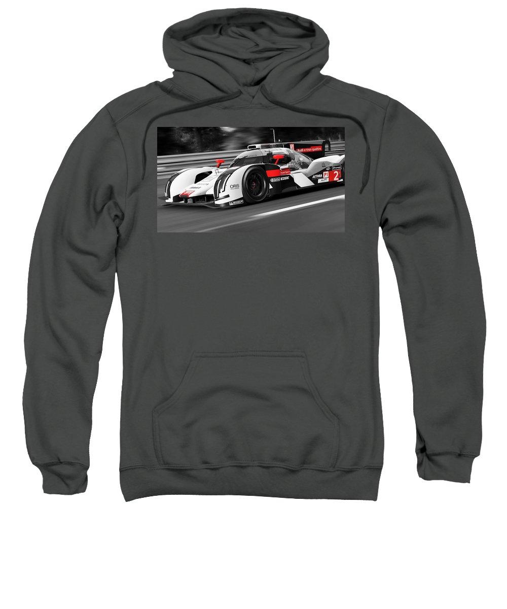 Audi Sweatshirt featuring the photograph Audi R18 E-tron, Le Mans - 31 by Andrea Mazzocchetti