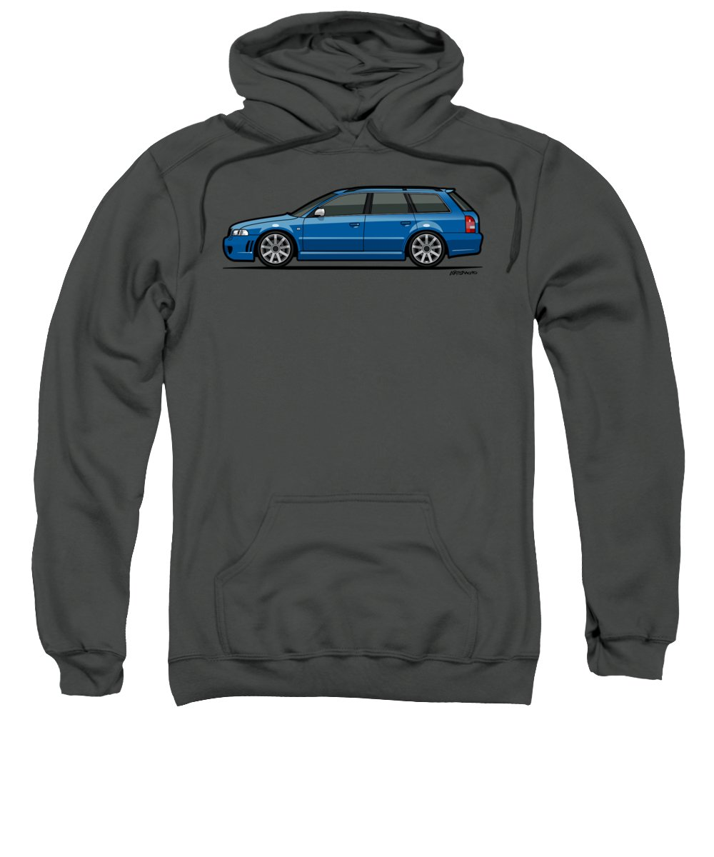 Station Wagon Sweatshirt featuring the mixed media Audi Rs4 A4 Avant Quattro B5 Type 8d Wagon Nogaro Blue by Monkey Crisis On Mars