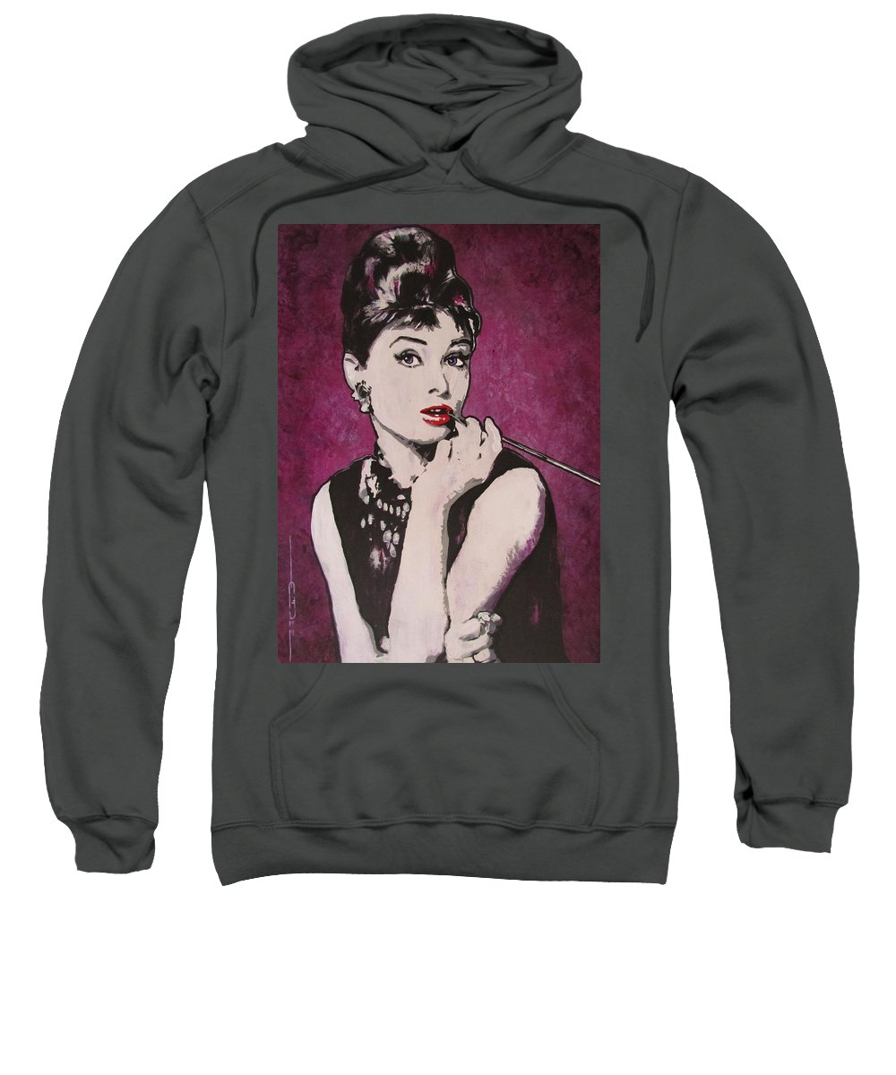 Audrey Hepburn May 4 1929 - Jan 20 1993 . Moon River. Breakfast At Tiffany's. Sweatshirt featuring the painting Audrey Hepburn - Breakfast by Eric Dee