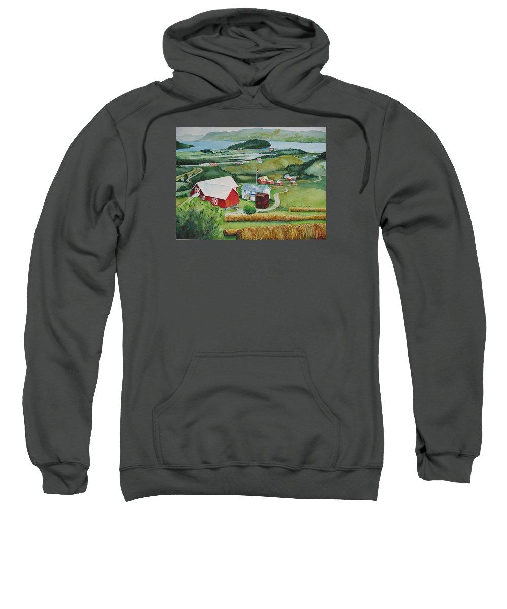 Norway Sweatshirt featuring the painting Aune Farm In Selbu Norway by Karen Stark