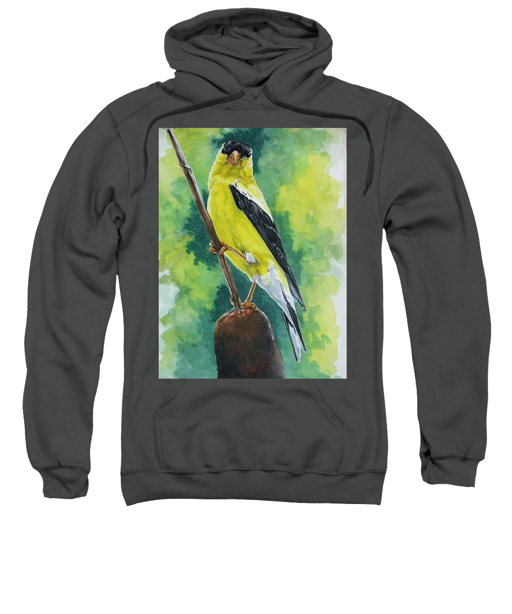 Common Bird Sweatshirt featuring the painting Aureate by Barbara Keith