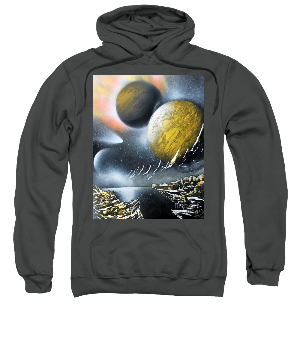 Space Art Sweatshirt featuring the painting Aurora by Greg Moores