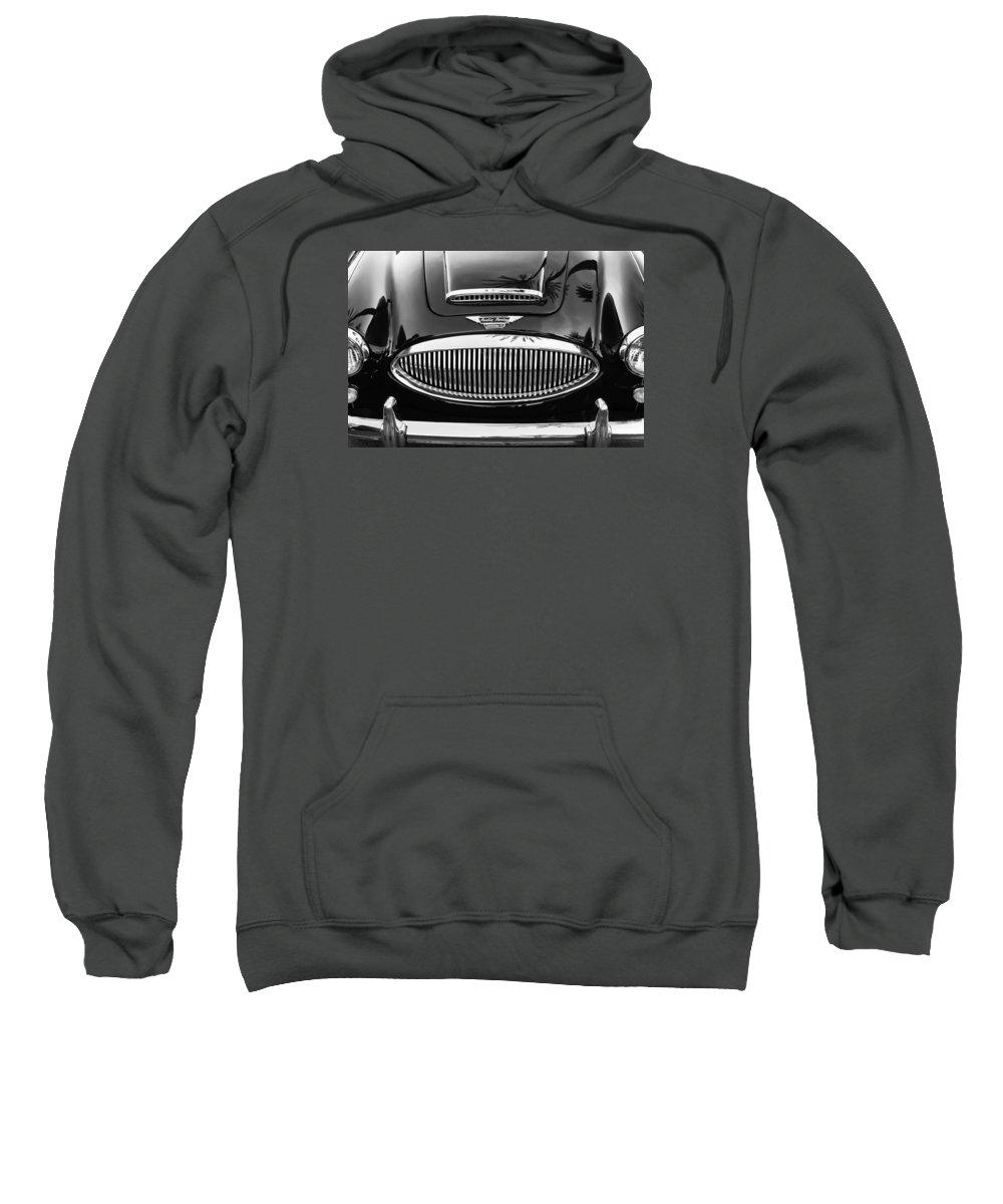Austin Healey 3000mk Ii Grille Sweatshirt featuring the photograph Austin Healey 3000mk II Grille - 0161bw by Jill Reger
