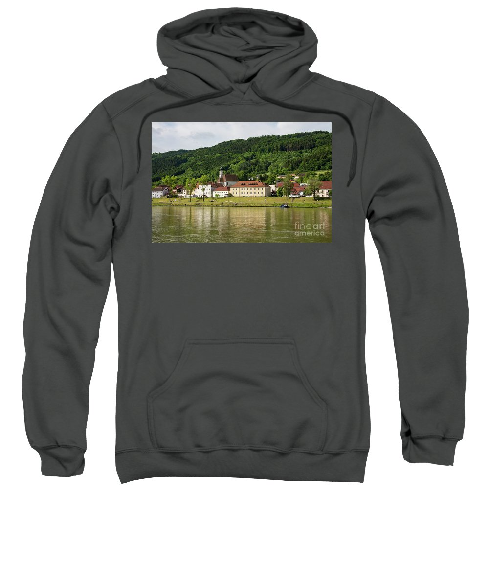Austria Austrian Village Villages City Cities Cityscape Cityscapes Building Buildings Structure Structures Architecture Reflection Reflections Danube River Rivers Water Waterscape Waterscapes Sweatshirt featuring the photograph Austrian Village by Bob Phillips