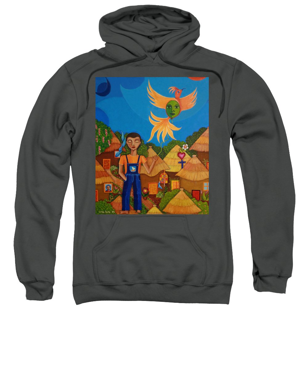Autism Sweatshirt featuring the painting Autism - A Flight To... by Madalena Lobao-Tello