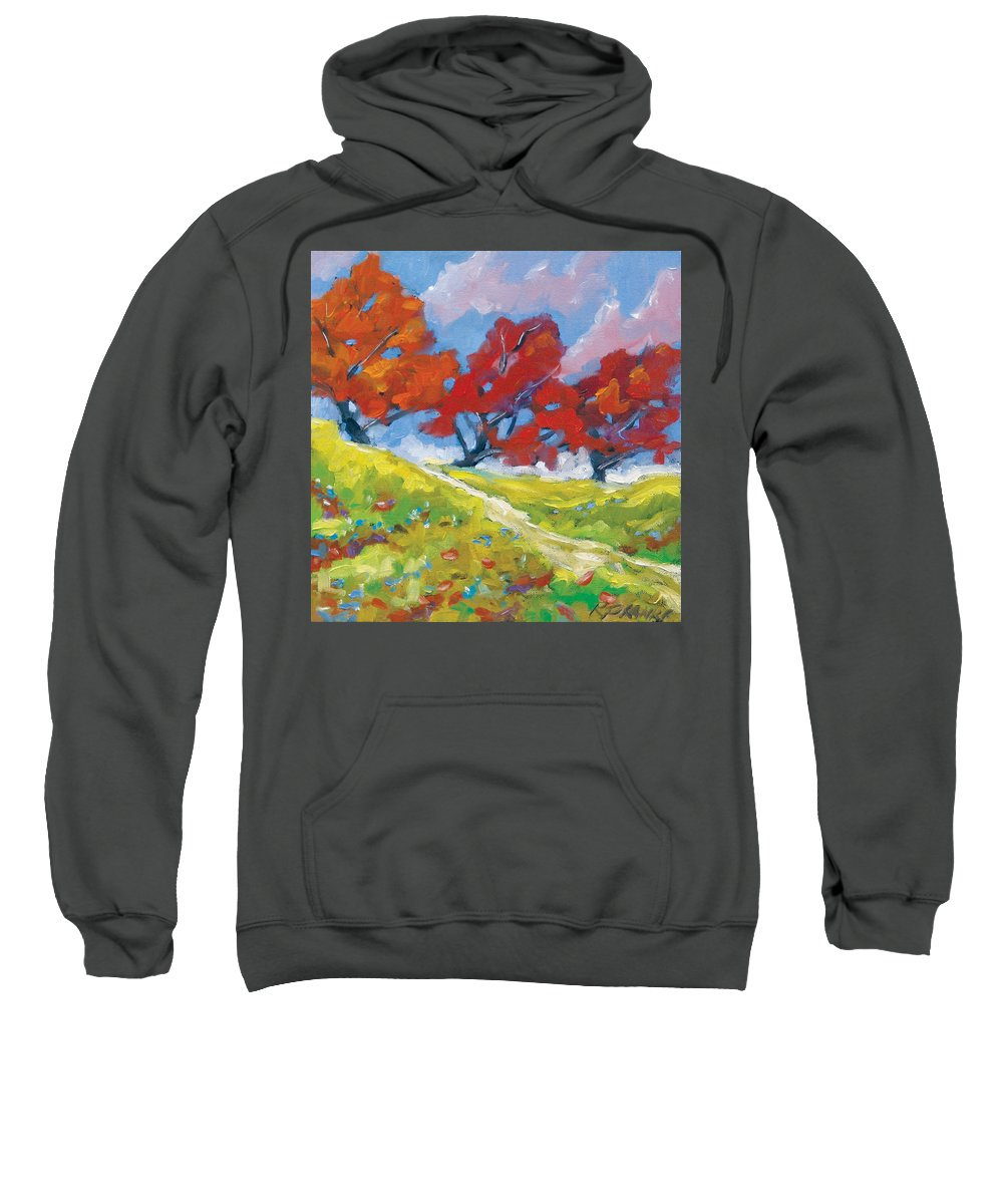 Art Sweatshirt featuring the painting Automn Trees by Richard T Pranke