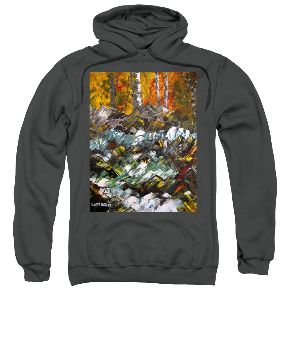 Fall Foliage Art Sweatshirt featuring the painting Autumn At The River by Ralph Loffredo